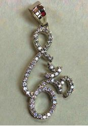 Picture of Pendant Om Sign Rohdium finish Diamond